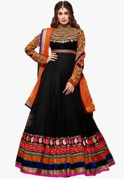 Admyrin Black Embroidered Dress Material Online Shopping Store