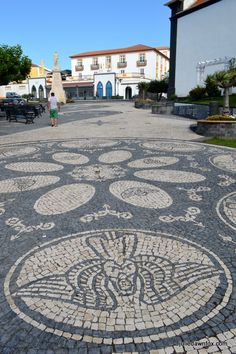 Patterned square, Velas, São Jorge island, Azores, Portugal. Click to see even more pretty pavements.