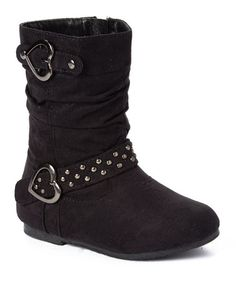 Look at this #zulilyfind! Black Heart-Buckle Boot #zulilyfinds