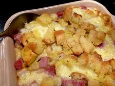 Monte Cristo Bread Pudding: all the flavors of the famous sandwich (turkey, ham, eggs, swiss cheese, French bread) are found in this savory bread pudding