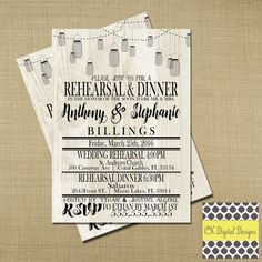 Wedding Rehearsal Dinner Invitation by CkDigitalDesign on Etsy