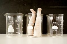 Vintage Science Beakers Pyrex 250ml Set of 3  by ThirdShift - fun and unique Halloween party or mad science party decor.