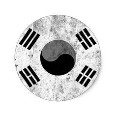 korea korea 한국 national flag 한글 Taegeukgi vintage Classic Round Sticker - craft supplies diy custom design supply special