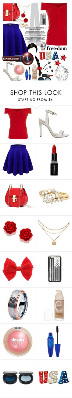 """Cassie Rogers 4th of July Look Year 7: Married"" by capfan2014 ❤ liked on Polyvore featuring Smashbox, Vintage, Marvel Comics, Maybelline, redwhiteandblue, marvel, 4thofjuly, CaptainAmerica and steveandcassie"