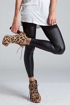 I Heart Rock 'n Roll Leggings  $49.00  --  Black leggings with elastic band waist feature a faux leather bottom half. MilkyWay Label. 95% Polyester, 5% Spandex. Hand Wash. Made in the USA.  http://www.avaadorn.com/i-heart-rock-n-roll-leggings-p-352.html