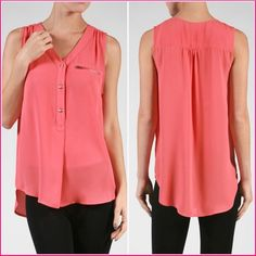 """✨New✨ Coral V-Neck Tank with Zipper Detail Perfect for Summer!  Sleeveless coral top with zipper detail and v-neck. Polyester. Size Large:  Bust 20"""" armpit to armpit, Waist 22"""", Length 26"""" (front) 29"""" (back). Tops"""