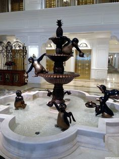 Grand Floridian DVC Lobby. Welcome Home to Mary Poppins themed fountain. http://www.allears.net | #DisneyResort #DVC #MaryPoppins #WDW #DeluxeResort #fountains