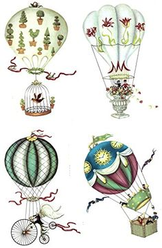 Victorian Hot Air Balloon Item 701187 Waterslide Ceramic Decals By The Sheet 8 pcs of 334 -- You can find out more details at the link of the image. Doodle Designs, Victorian Steampunk, Pottery Making, Retro Futurism, Hot Air Balloon, Scrapbook Paper, Sculpture Art, Decoupage, Cool Things To Buy