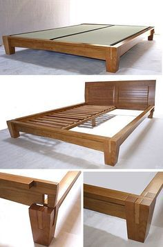 The Yamaguchi Platform Bed Frame in Honey Oak - This Japanese style platform bed is constructed with interlocking frames that requires no brackets or screws for easy assembly.: