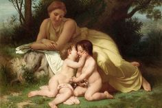 Young woman contemplates twp embracing infants