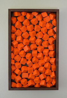 Modern Wood Wall Art  Orange Cubes by moderngeometrics on Etsy