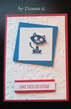 You Little Furball, Stampin' Up - paw print embossing folder, Darice