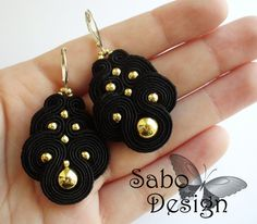 BLACK QUEEN soutache earrings embroidered in black by SaboDesign.