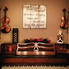 Dining room, piano décor, #music #violin #biblequotes