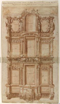 [Retablo mayor del Convento de las Descalzas Reales de Madrid]. Becerra, Gaspar ca. 1520-1570 — Dibujo — 1563
