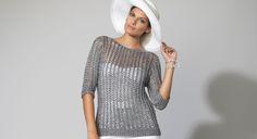 Tricotez ce joli pull gris ajouré. Avec ses manches trois-quart, il est idéal pour l'été ! Un basic à avoir dans son dressing.  Les tailles -a) 38-40 –b) 42-44 –c) 46-48 –d) ...