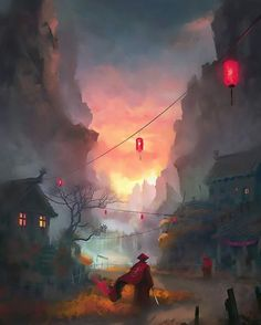 Asian inspired fantasy landscape  . ☲ 'Old debt' by Lensar.