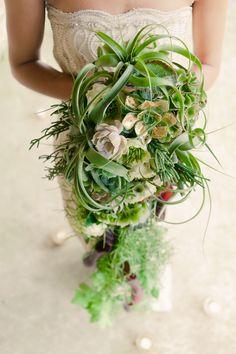 striking Textural, trailing bouquet succulent air plant modern cascade bouquet