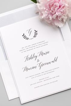 Looking for the perfect wedding invitation? Click to personalize this gorgeous design with your choice of colors, envelope liners, belly bands, and enclosure cards. Matching save the dates, wedding programs, menus and more are available to carry your theme throughout your big day.