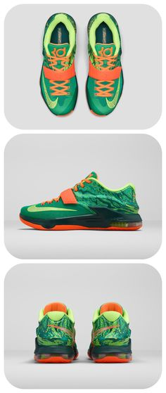 """The shoes of Kevin Durant's childhood dream have arrived. Get the Nike #KD7 """"Weatherman""""."""