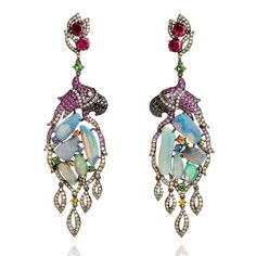 diamond and sapphire Fantasie Pretty Polly earrings-Wendy Yue