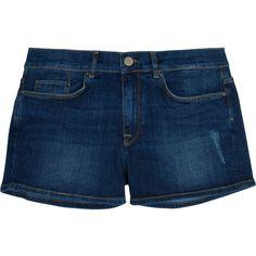 Victoria Beckham Denim Oversized stretch-denim shorts ($124) ❤ liked on Polyvore featuring shorts, dark denim, dark denim shorts, vintage distressed shorts, loose shorts, distressed shorts and destroyed shorts