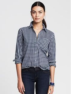 Classic Gingham shirt to add to your closet @bananarepublic 30% off -I have this shirt and really like its fit. Banana Republic, soft washed shirt, size L. I think they have some other cute fabrics.