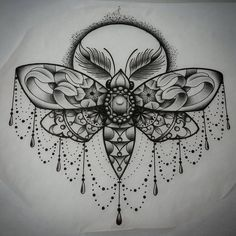 Fancy moth drawing I finished up today... thanks for looking! #tattoo #tattoos #tattooflash #tattooa - ryan_cush