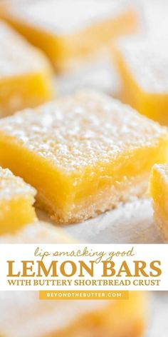 """These Super Easy Lemon Bars combine a tart and tangy lemon curd filling with a buttery, shortbread crust. Made in an 8"""" x 8"""" baking pan, they make the perfect citrus-y treat to enjoy with family, friends, or coworkers!   BeyondtheButter.com   #lemons #lemonbars #beyondthebutter #lemondesserts Lemon Dessert Recipes, Lemon Recipes, Easy Desserts, Sweet Recipes, Baking Recipes, Cookie Recipes, Delicious Desserts, Baking Pan, Yummy Food"""