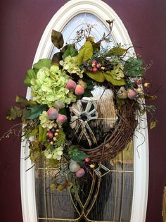 The summer garden silk spring door wreath - frosted greens, pale pink flowers, pale yellow accent flowers, creamy white berries on a natural vine base. Description from myhomesdesigns.info. I searched for this on bing.com/images