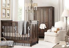 Baby D's nursery: beige/grey walls, espresso furniture, white/beige glider, white/beige/gray bedding and accessories, elegant with little rustic splashes (eg wire baskets).