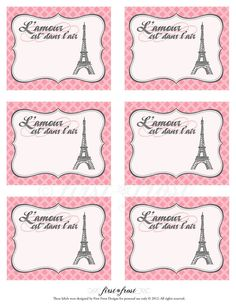 Printable Favor Tags/Cards - French Themed Eiffel Tower Paris Party. $5.00, via Etsy.