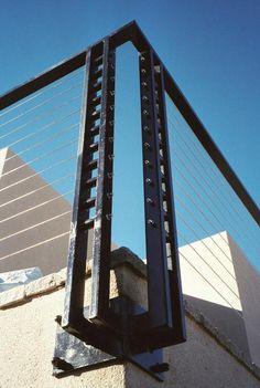 Cable Railing Detail Metal Railings, Staircase Railings, Deck Railings, Stairs, Cable Railing, Cabin Design, Deck Design, Steel Structure Buildings, Balcony Railing Design