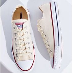 Off-white Converse Off white/cream Converse in great condition. Only worn a couple of times. Size 7 very comfortable. $30 on 〽️ercari. Price Firm Converse Shoes Sneakers