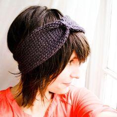 Knit Headband Turban  Cinched Headwrap  Gun Metal by NeekaKnits, $18.00