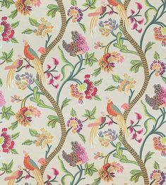 Thibaut Janta Bazaar Flax textil - Paisley Home Chinoiserie Wallpaper, Wallpaper Decor, Fabric Wallpaper, Bohemian Wallpaper, Chinoiserie Chic, Coral Orange, Pink And Green, Bird Curtains, Coral Curtains