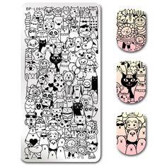 $2.99 BORN PRETTY Stamping Template Rectangle Cartoon Panda Cat Rabbit Lion Nail Art Image Plate BP-L091 - BornPrettyStore.com