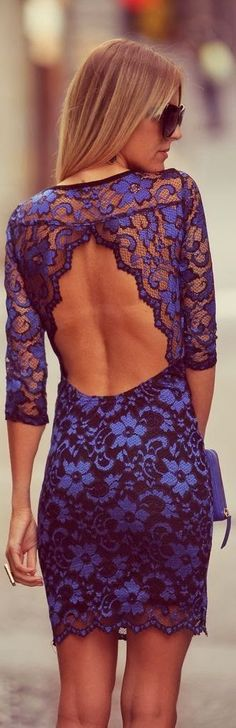 Indigo dress with open back