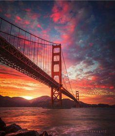 Golden Gate Bridge sunrise by Engel Ching #sanfrancisco #sf #bayarea #alwayssf #goldengatebridge #goldengate #alcatraz #california