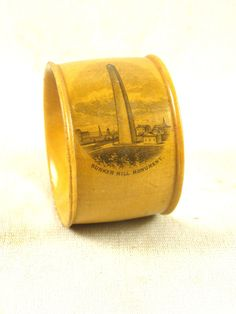 Antique Wood Mauchline Napkin Ring - Bunker Hill Monument, Charlestown, MA
