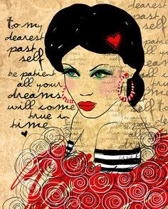 To My Dearest Past Self / original illustration ART Print Hand SIGNED size 8 x 10