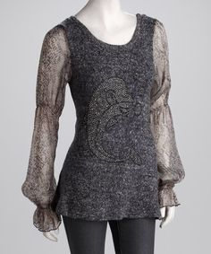 Take a look at this Light Gray Dolphin Stud Sheer Sleeve Sweater - Women by Jazzy Martini on #zulily today!