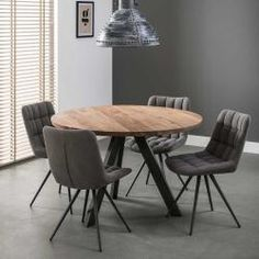 Awesome Round Dinning Table Design Ideas - Page 57 of 70 Round Dinning Room Table, Table Reglable, Dinning Table Design, Dining Room Colors, Dining Room Wall Decor, Wooden Dining Tables, Dining Table Chairs, Industrial Round Dining Table, Dining Rooms