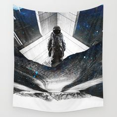 Astronaut Isolation Wall Tapestry. #drawing #digital #black-and-white #illustration #figurative #astronaut #sci-fi #space #spaceman #mountains #isolation #cosmos #moon #nasa #schizophrenia