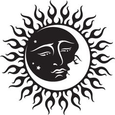Celestial Sun And Moon Black And White