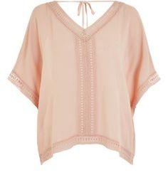 Shell Pink Crochet Trim Dip Hem V Neck Top
