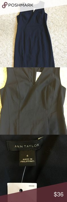 """NWT Gorgeous Navy Ann Taylor Dress Perfect little sheath! This dress is new with tags!! The stitches are still in the back to keep the pleats perfect! 39.5"""" long and the armpit to armpit measurement is 16.75"""" Ann Taylor Dresses Midi"""