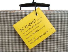 Personalized Luggage Tag -I could make a personalized tag like this and just laminate with some packing tape. Yippee!AD