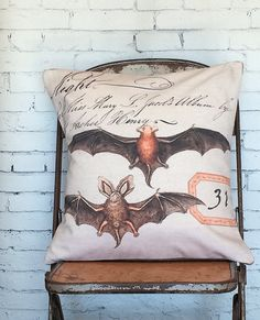 Pillow Cover Halloween Bat Fall Decor Cotton and by JolieMarche