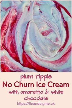 This recipe for plum ripple ice cream with amaretti and white chocolate is super easy to make and so delicious on a hot summer's day. Ice Cream Desserts, Cute Desserts, Ice Cream Flavors, Frozen Desserts, Frozen Treats, Dessert Recipes, Plum Ice Cream, Summer Ice Cream, No Churn Ice Cream